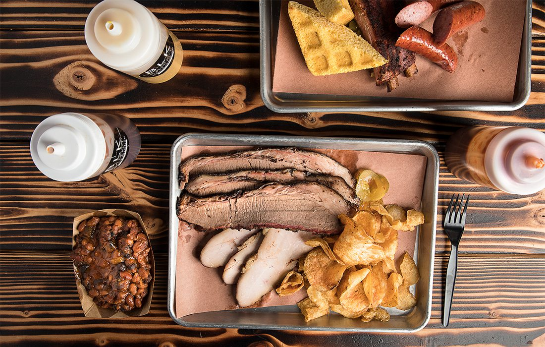 brisket plate and beans