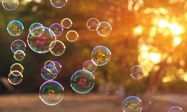 Soap bubbles floating outside