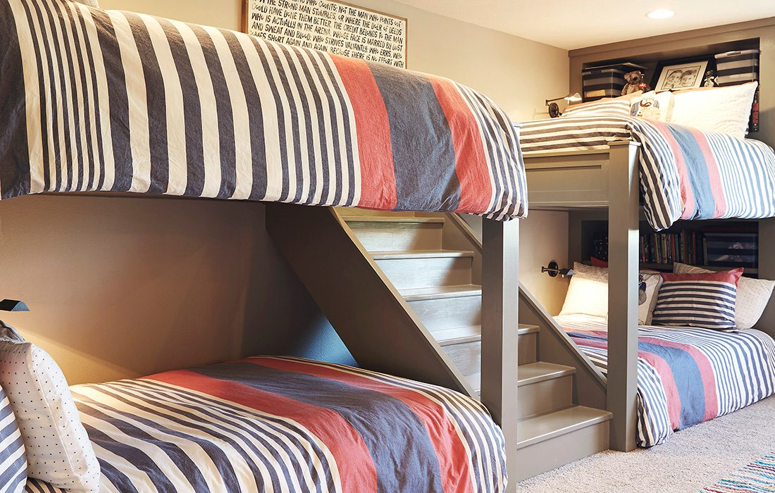 four bunk beds in a room
