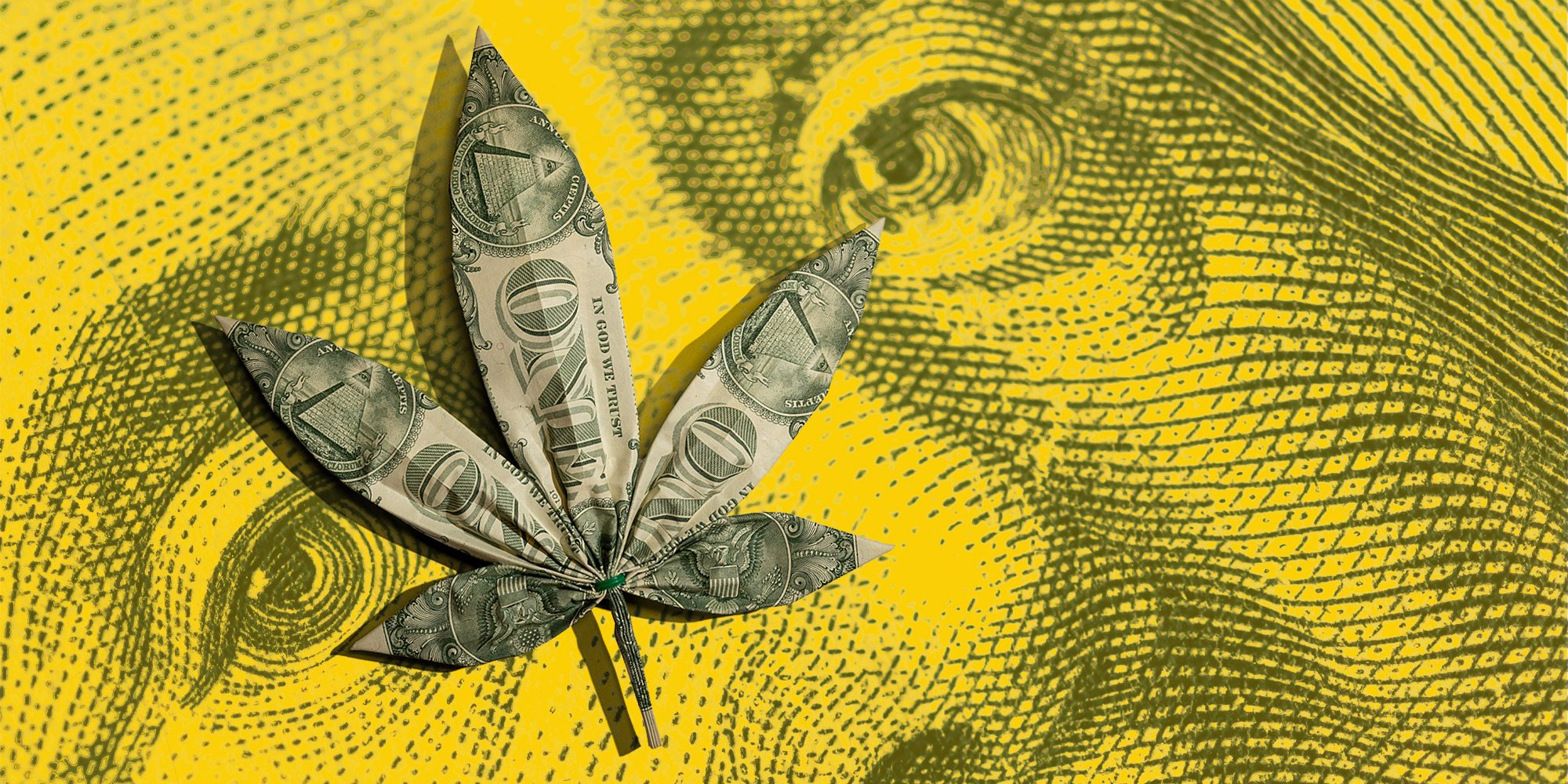 Pot leaf made of dollar bills