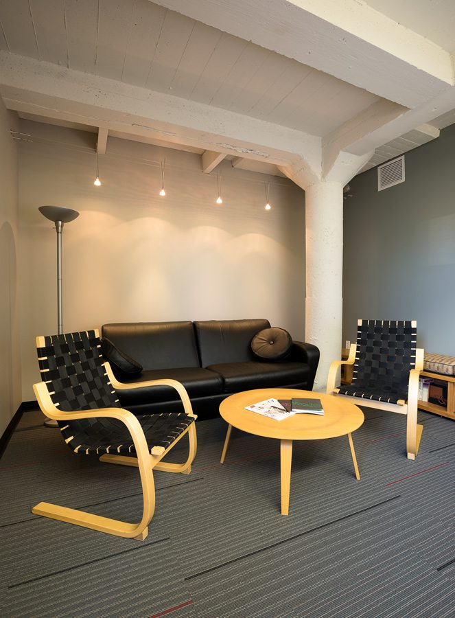Office seating area with black furniture