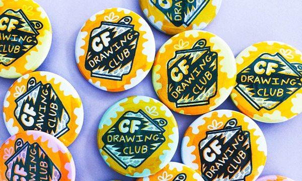 Culture Flock Drawing Club badges.