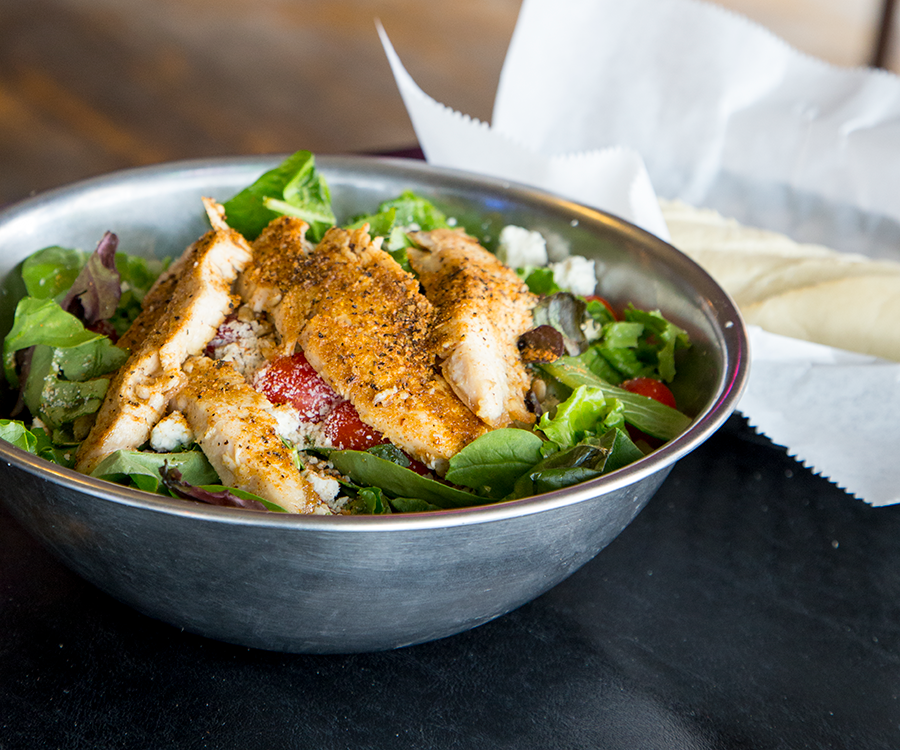 Try the cajun chicken salad, a mix of grilled chicken, Gorgonzola and toasted sunflower seeds.