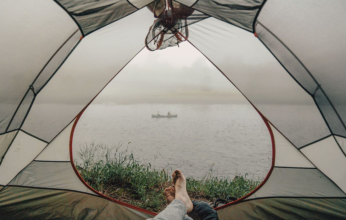 View from inside of a tent of Bull Shoals at White River State Park