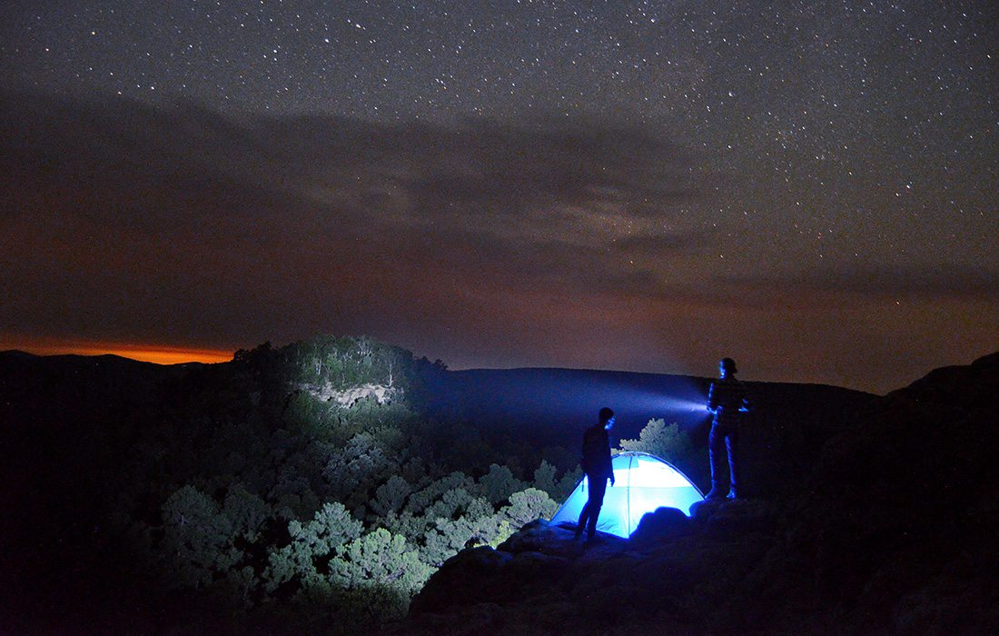 Camp site at night at Sam's Throne recreation Area in Arkansas
