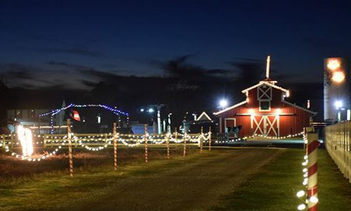 christmas lights in front of a barn