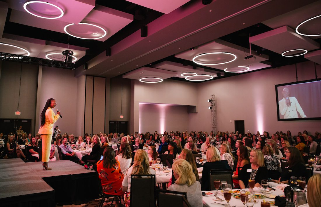 Carmelita Jeter speaks at Biz 417's Ladies Who Launch.