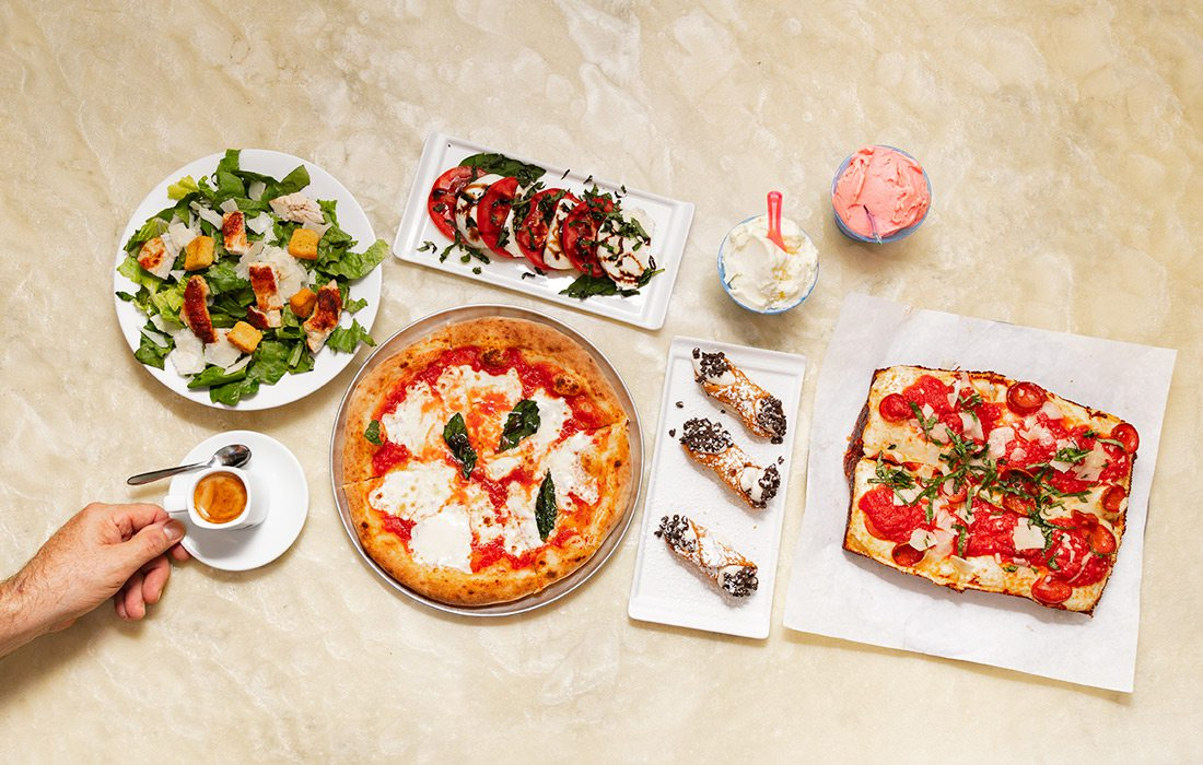 Detroit-style pizza, wood fired pizza, caprese salad, cannolis and espresso from Carmine's Wood Fired Pizza