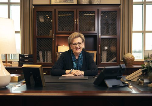 Evangel University President Carol Taylor in her office