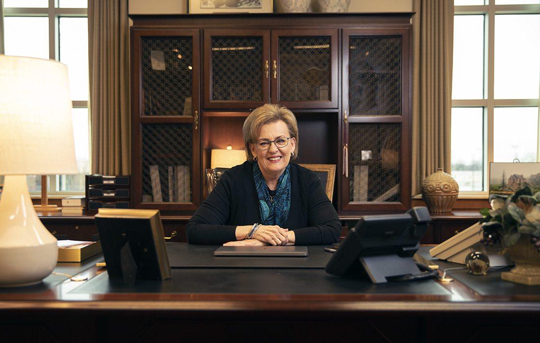 Evangel University President Carol Taylor in her office