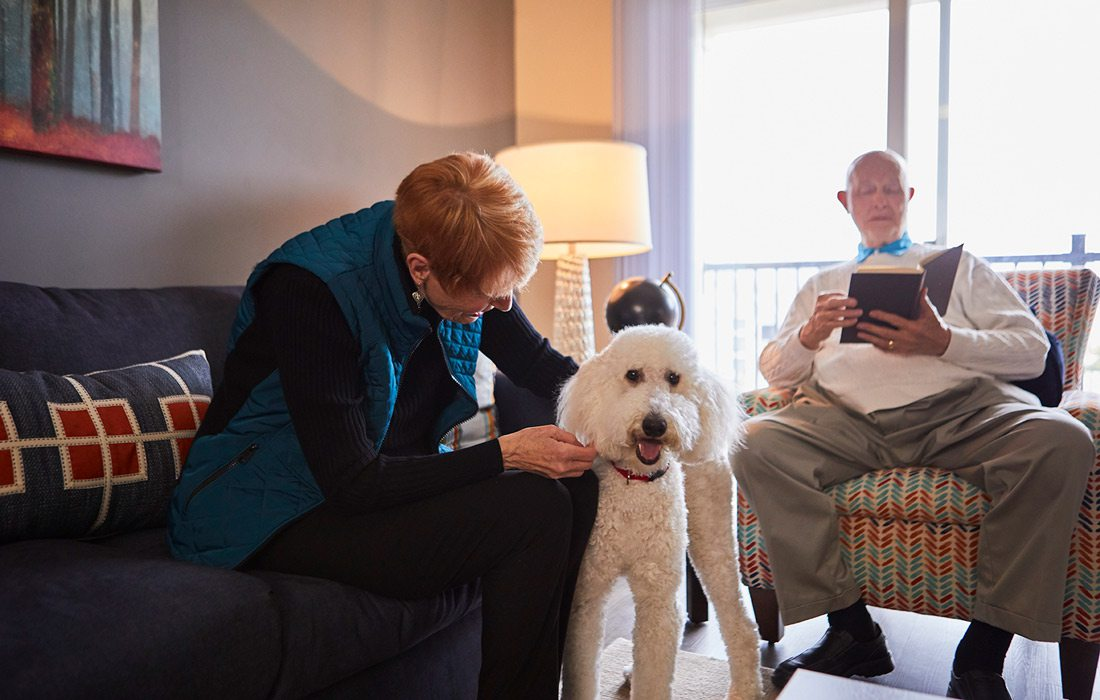Older couple with their dog