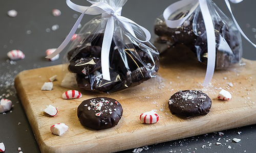 Chocolate Mint Thins with Candy Cane Crunch