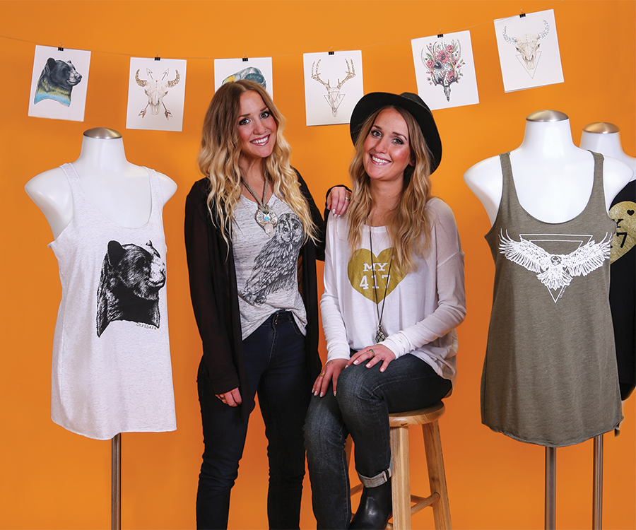 Twin sisters Sara Schmitz Olson (left) and Christa Schmitz of Chrisara Designs.