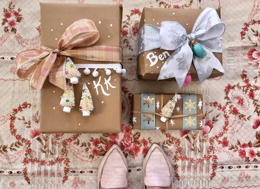 Pink and brown Christmas wrapping