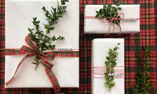 Red and white Christmas wrapping