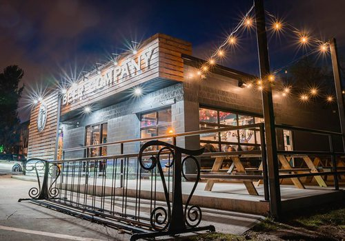 Tie & Timber Beer Co in Springfield MO at night