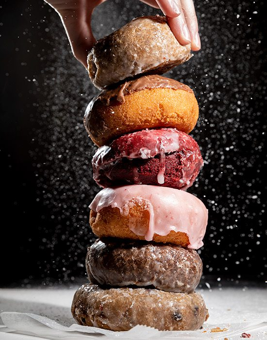 Stack of various flavors of St. George's cake donuts Springfield MO