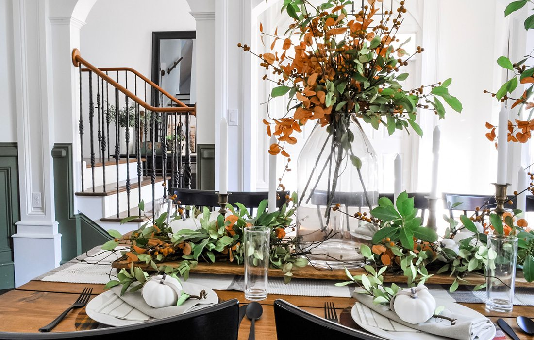 Fall tablescape design by Cassie Goodman and Sadie Lish of Clover Lane blog