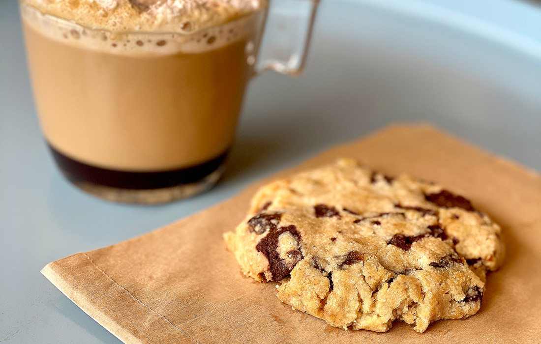 Cookie and coffee at Cafe Dhibs on Commercial Street in Springfield MO