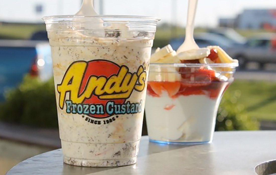 Andy's Frozen Custard concrete and sundae in Springfield MO