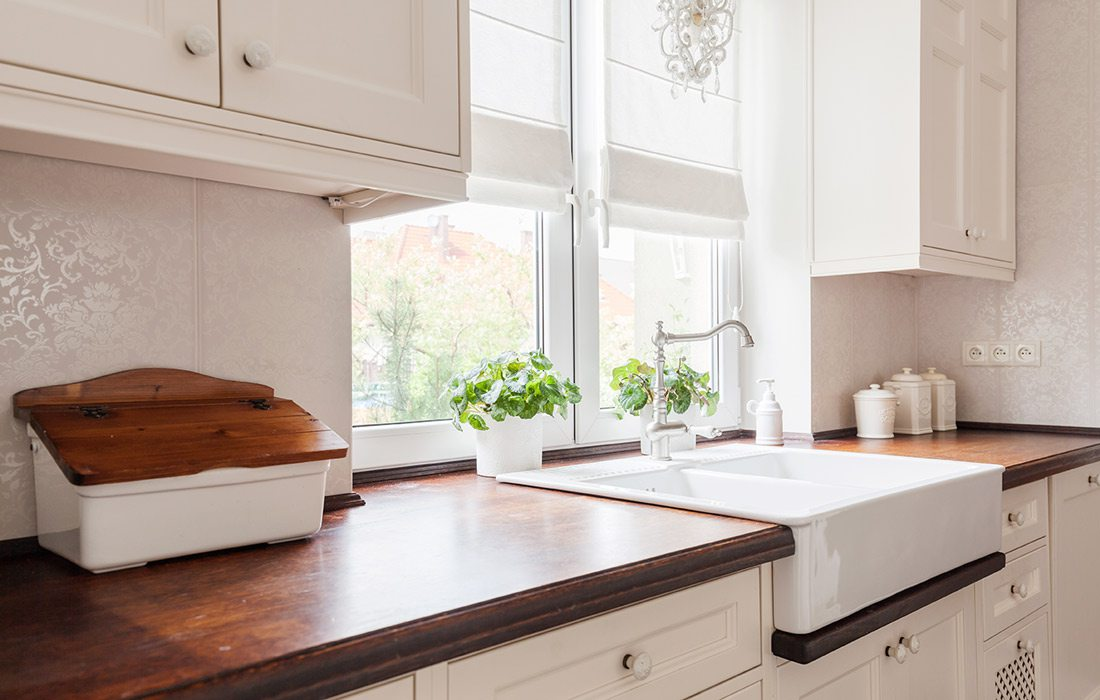 Wood kitchen countertop stock image