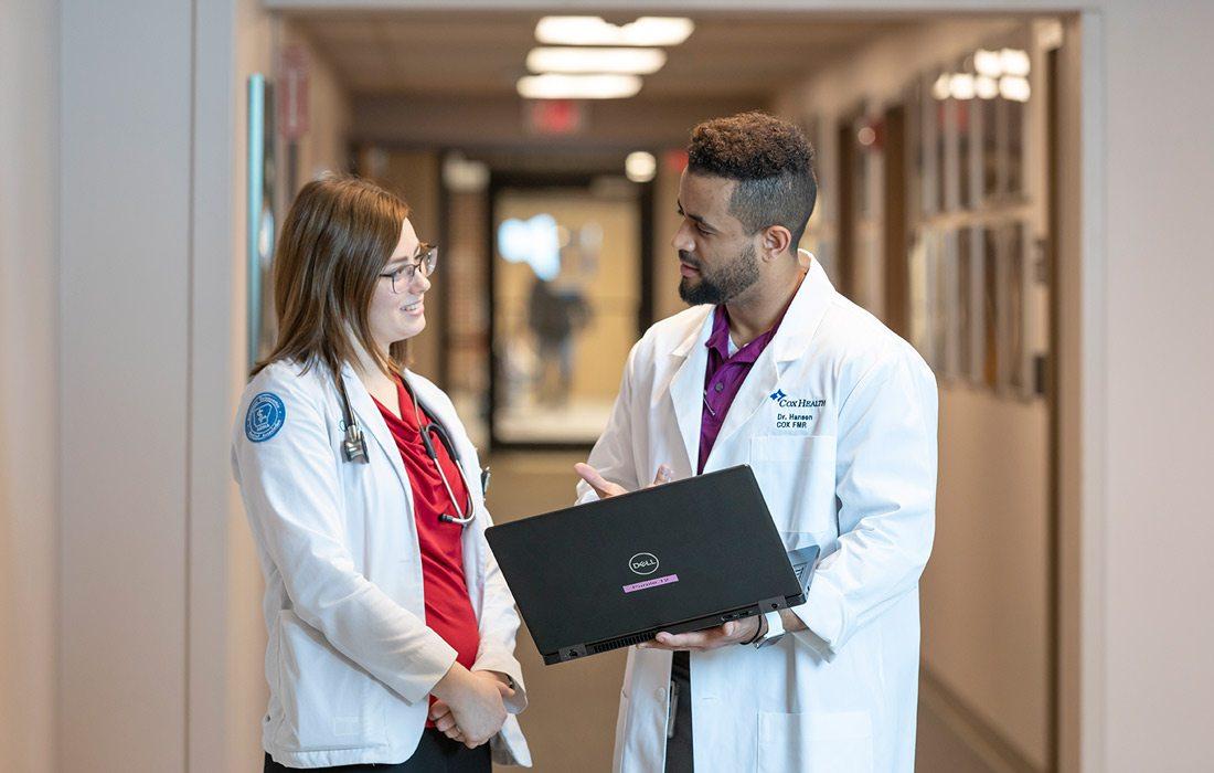 CoxHealth resident Theo Zemanuel and medical student Megan Johnson