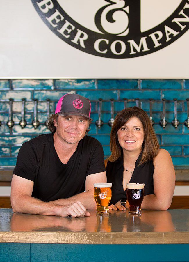 Curtis Marshall and Jennifer Leonard brewers at Tie & Timber Beer Co Springfield MO