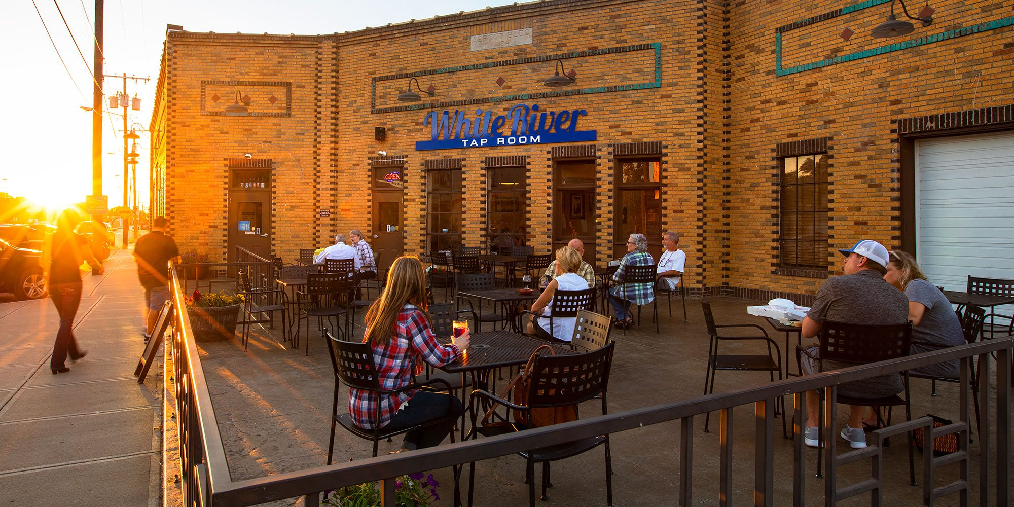White River Brewery Springfield MO patio at sunset