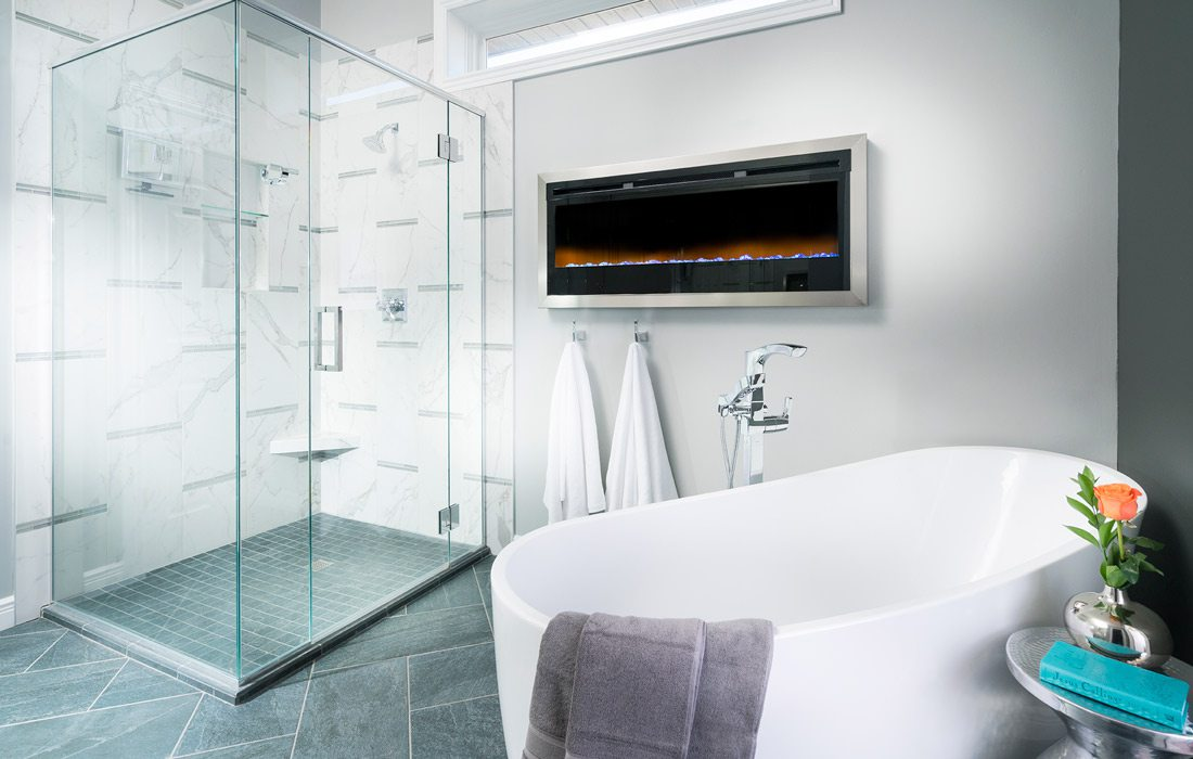 Spa bathroom remodel with shower and tub