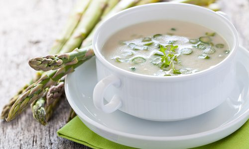 Cup of creamed asparagus soup