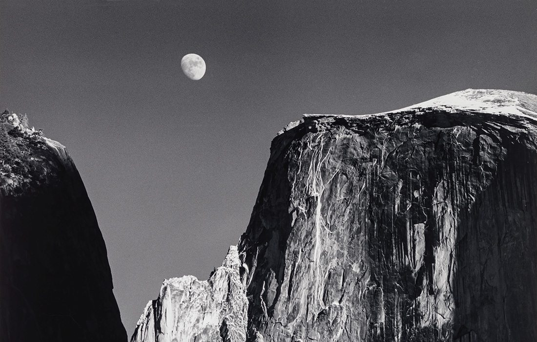 Moon and Half Dome, Yosemite National Park Ansel Adams, Crystal Bridges Museum of American Art, Bentonville, AR