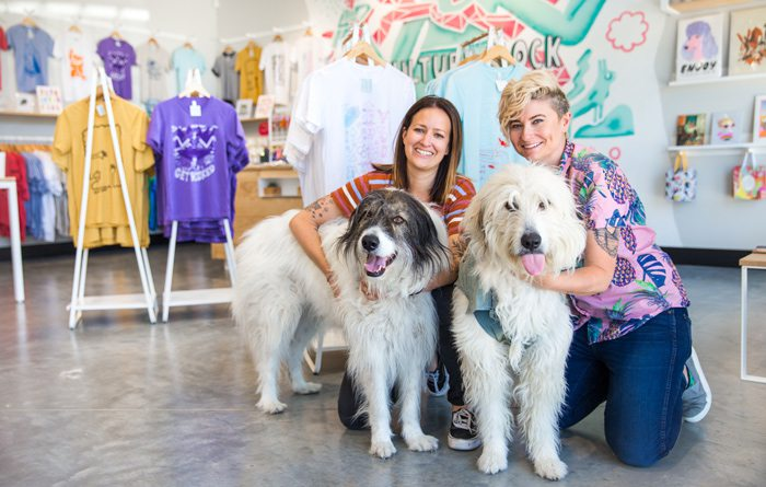 Culture Flock owners Brittany Bilyeu and Summer Trottier with their pups Hucklebear and Maggie