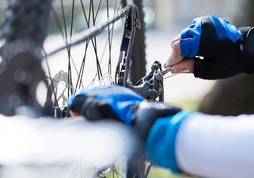 Cycling gear gloves close up stock image