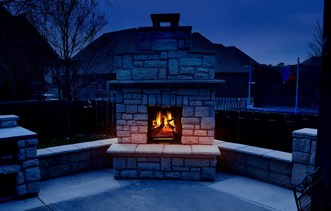 Masonry fireplace built by James Haik