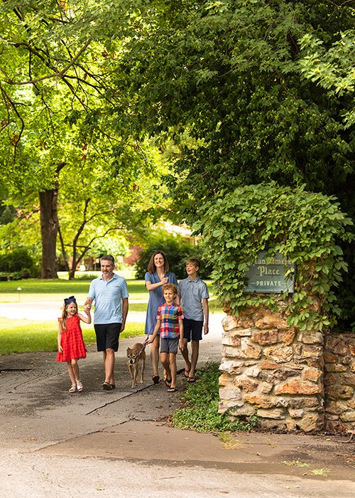 Meek's family going for a walk in Meadowmere Place in the Delaware Neighborhood in Springfield MO