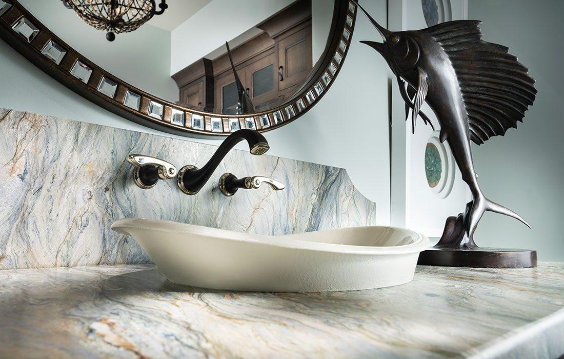 Upclose Sink Shot of Ocean Bathroom