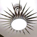 Slider Thumbnail: Silver sunburst chandelier.