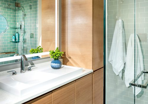 417 Home Design Awards 2019 Winner of Most Creative Use of Materials in a Bathroom by Obelisk Home Springfield MO