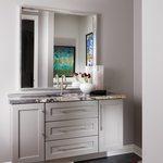 Slider Thumbnail: Modern powder bath with gray cabinets by Nathan Taylor.