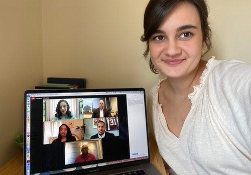 Megan Dollar watches the virtual B-School event