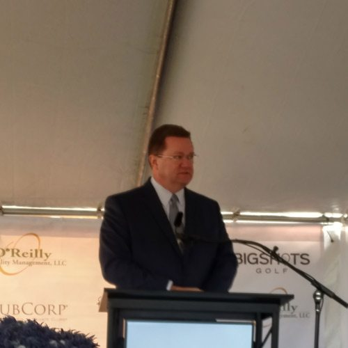 Bob Dixon speaks at the BigShots groundbreaking ceremony.