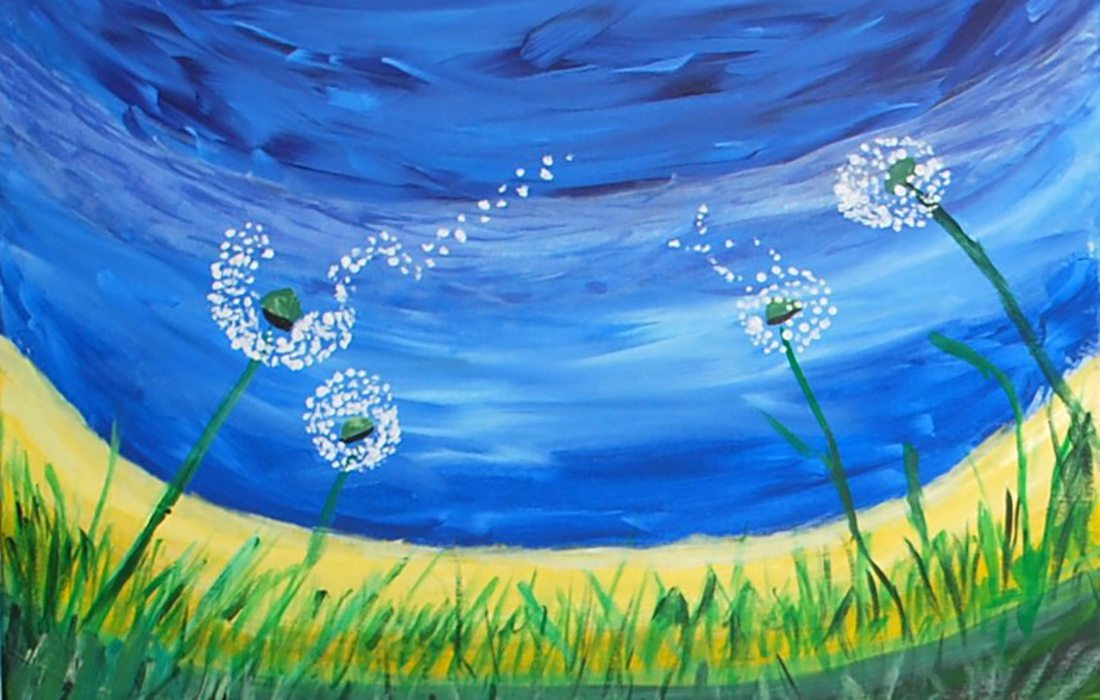 Dandelion painting by Ellie Blevins at Polk County Senior Center