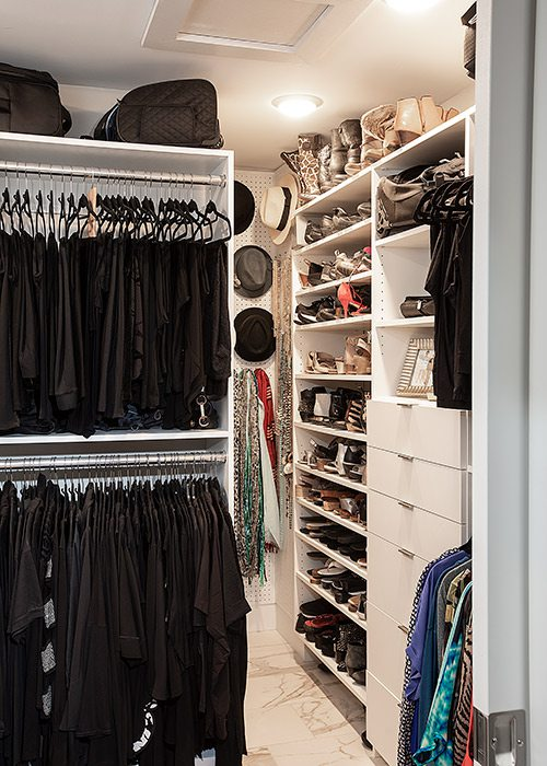 Joan and Gary Whitaker's closet in their downtown Springfield MO condo