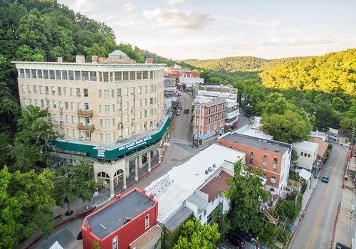 Aerial shot of downtown Eureka Springs, Arkansas