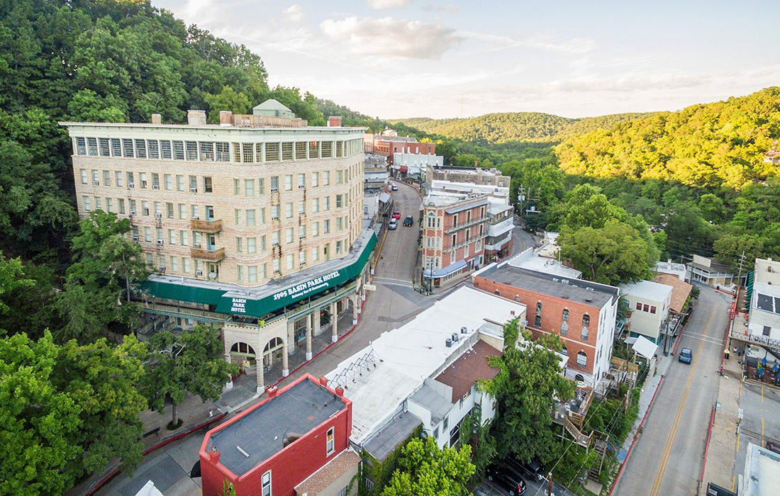 Aerial shot of downtown Eureka Springs, Arkansas