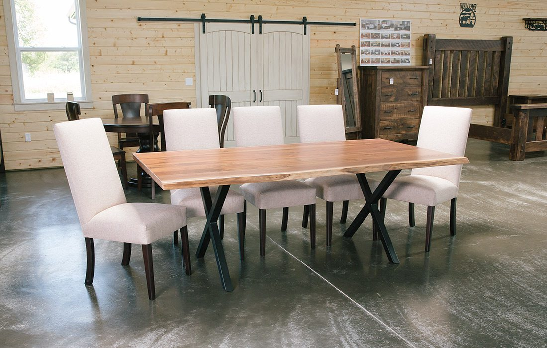 Rustic and modern dining room set by Dutchman's Furniture in Missouri