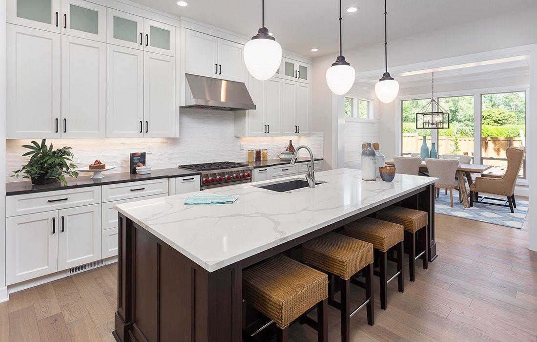 Bright white kitchen design