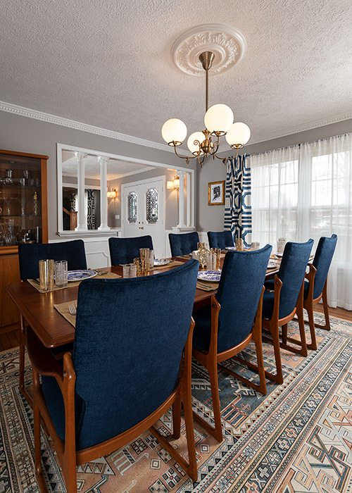 Modern dining room renovation in colonial home Springfield MO