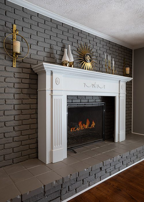 Painted brick fireplace renovation in colonial home Springfield MO