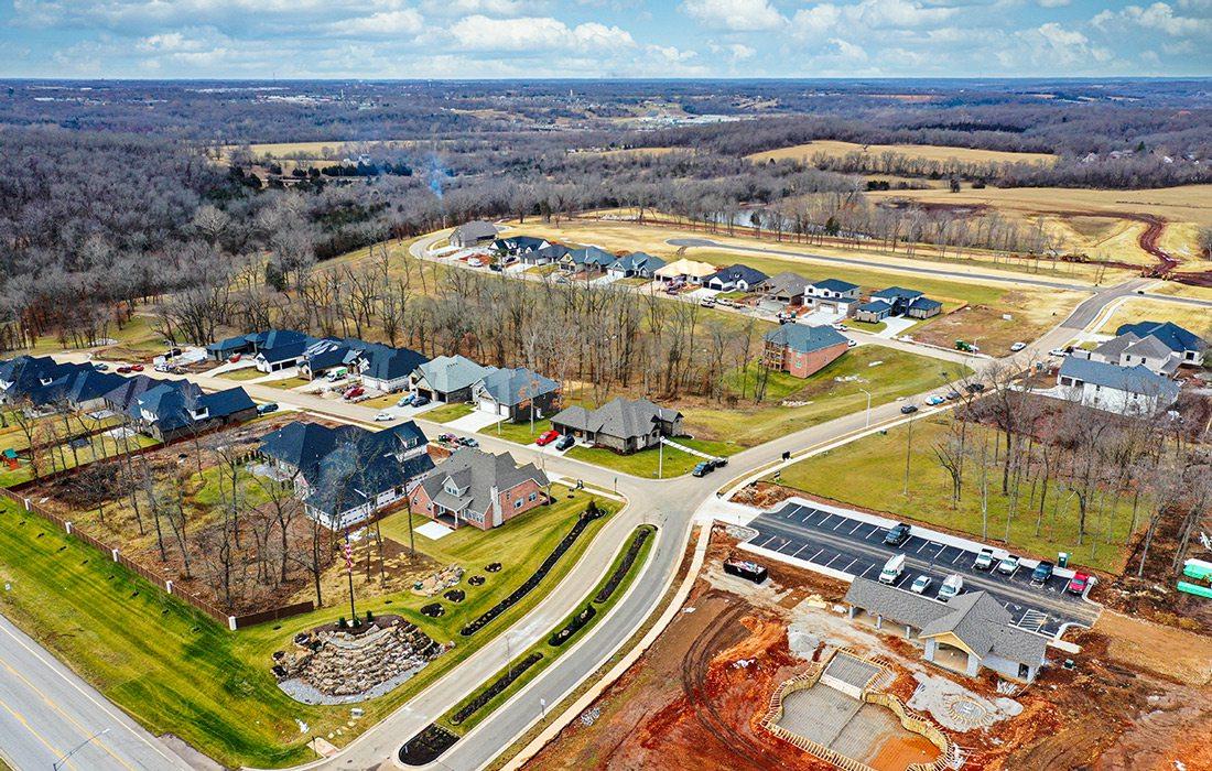 New neighborhood development drone photo